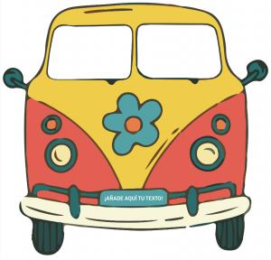 photocall furgoneta años 70 amarilla