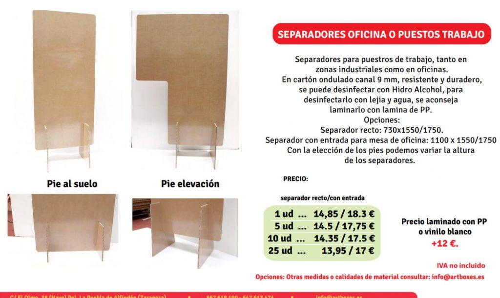 separador carton oficinas y zonas insdustriales